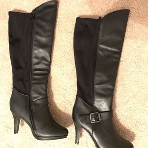 Forever Shoes - Forever Tall Black Heeled Boots Size 7 1/2